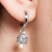 Shiny CZ Zircon Sterling Silver Ladies Stud Earrings Jewelry