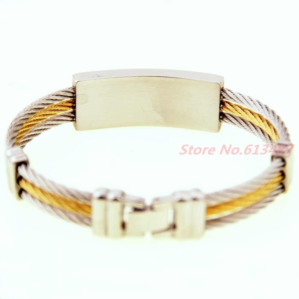"""Hot Selling Women Mens Jewelry Cable Wire Stainless Steel Cross Bangle Bracelet  7.67"""""""