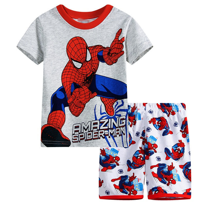 9 Kids Boys Girls Pajamas Cartoon Spider-Man Set Baby Sleepwear Cotton Superhero Costumes Shorts + Short Sleeve Tees Baby Clothing
