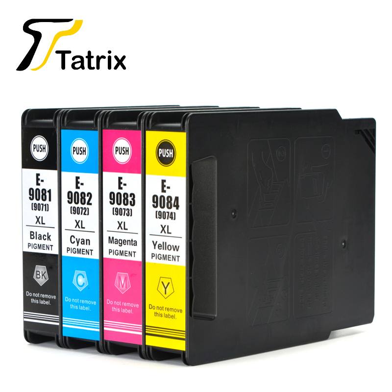 Tatrix For Epson T9081 T9082 T9083 T9084 Ink Cartridge T9071 BK/C/M/Y For Epson WorkForce Pro WF-6090DW 6590DWF Printer epson t7014 xl c13t70144010 yellow картридж для workforce pro wp 4000 5000 series