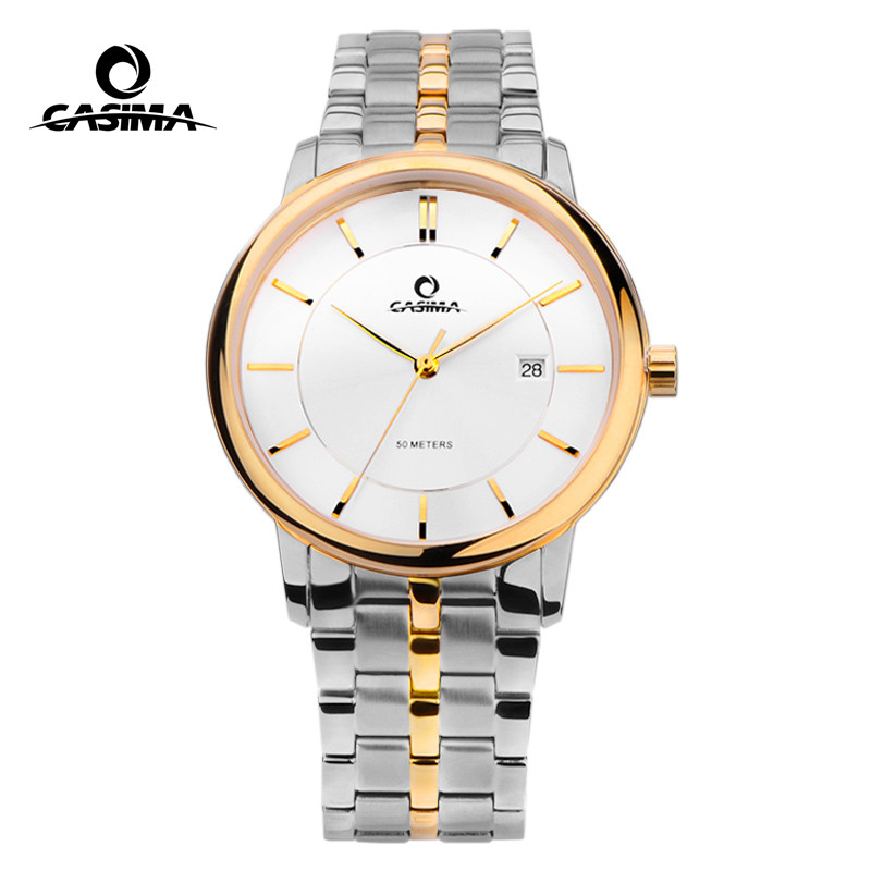 CASIMA Business Casual Gold Stainless Steel Watch Band Quartz Wrist Watches for Men Calendar Display Waterproof 5129 ts100 mini programmable smart digital lcd adjustable temperature electric electric soldering iron soldering station 7pcs tips