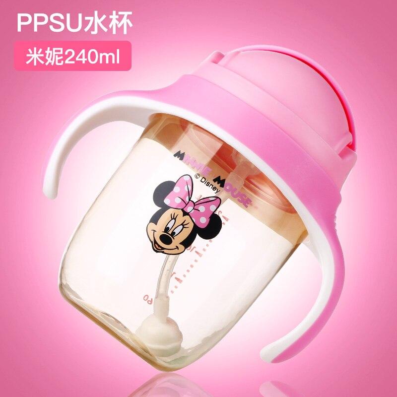 Disney 240ml PPSU Baby Water Bottle Learning Drink Straw Bottle with Gravity Ball Drinking Kids Kettle Drinking Bottle Handle