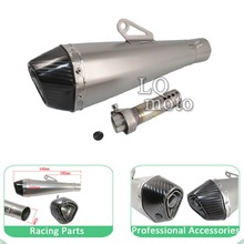Motorcycle modified exhaust pipe Wan Hu hexagonal shaped titanium matte carbon fiber horn imitation head large displacement