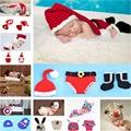 Crochet Retail Chapéu Traje Do Natal & Diaper/Calças Set Bebê Recém-nascido Foto Props Criança Santa Fotografia Adereços 1 conjunto MZS-14032