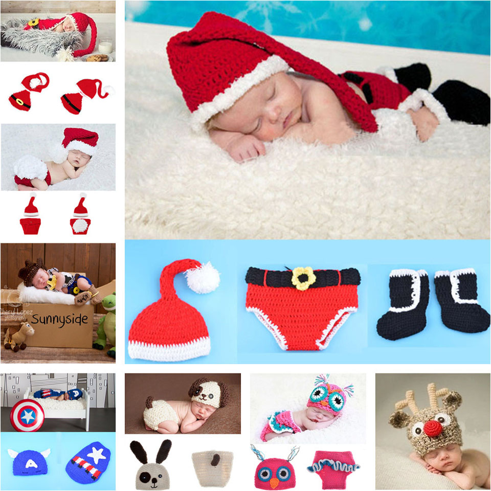 Retail Crochet Christmas Costume Hat&Diaper/Pants Set Newborn Baby Photo Props Toddler Santa Photography Props 1set MZS-14032