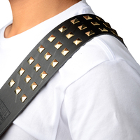 Square Rivet Genuine Leather Guitar Belt Cow Leather Guitar Strap For Electric Bass Guitar 128 148