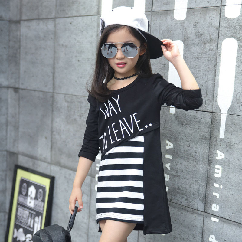 2016 fall t shirt clothing stripe miter T shirt casual comfort clothes children clothing 12 years