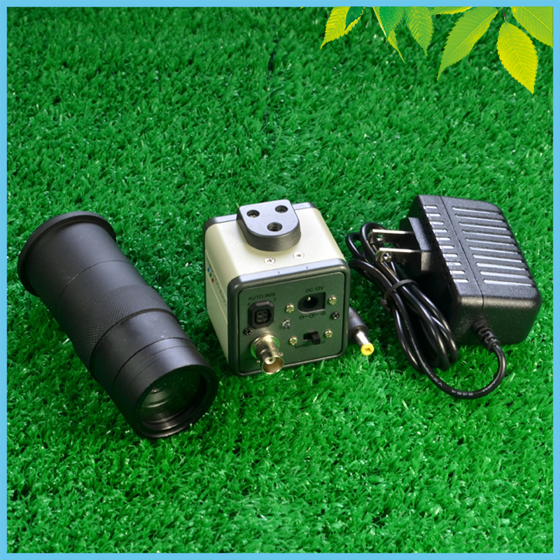 800 Lines AV BNC Industrial Camera + Microscope 100X Objective Lens 1/3 Video Digital CCD Camera hd ccd 800 lines c mount digital microscope eyepiece av bnc out put industrial camera with 100x zoom lens