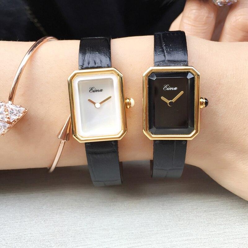 EIMA kobiety mody na co dzień luksusowa marka skórzana bransoletka zegarek kwarcowy zegarek na rękę Lady Dress zegarki Feminino Relojes w Zegarki damskie od Zegarki na  Grupa 1