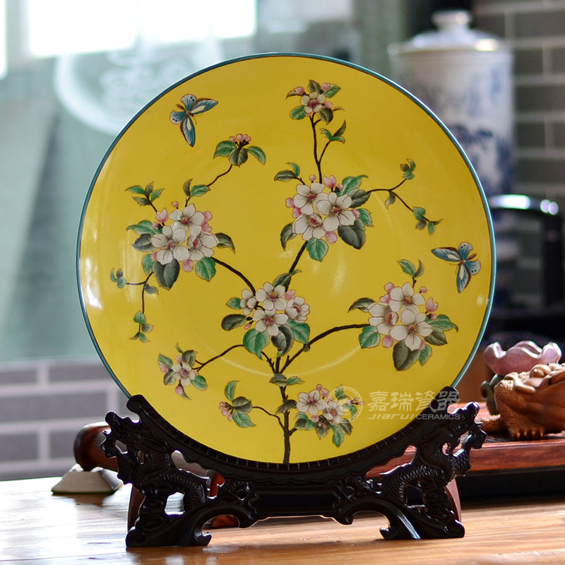 Chinese Antique Round Porcelain Decorative Plates Decorative Ceramic ...