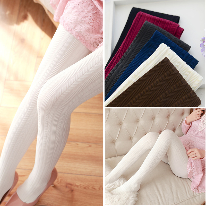 W7400 spring womens tights high quality pantyhose with 3D jacquard patterns female stockings added strecth