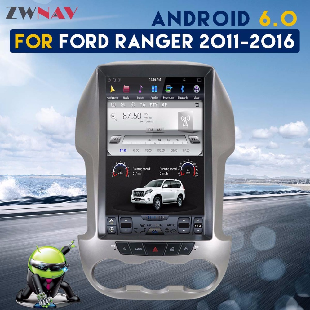 ZWNAV Tesla Pantalla de estilo más nuevo Android 6,0 2 + 64 GB No CD Player navegación GPS Radio del coche para Ford ranger F250 2011-2016 mapa gratuito