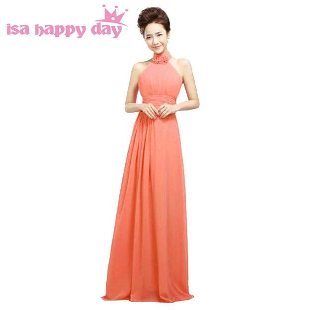 vestidos cortos elegantes simple halter neck sexy watermelon party dress women size 8 chiffon girls graduation dresses H1178