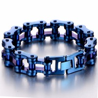 Charming Fashion Men Classic Blue Bicycle Chain Bracelet Stainless Steel Link Motor Bike Chain Bracelet Jewelry 23.5cm Length
