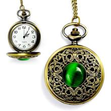 1pc NEW Big Vintage Emerald stone pocket fob watch Green Necklace woman Jewelry Gothic fashion retro Elf Eye Necklace gift H3
