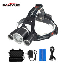 PANYUE Waterproof Super Bright LED Headlight Led Rechargeable 18650 Headlamp 6000LM light head lamp T6+2R2 Head Flashlight Torch panyue super bright 50w 20000lm 7 xml t6 2 r2 led headlamp usb rechargeable head lamp led headlight with sos whistle