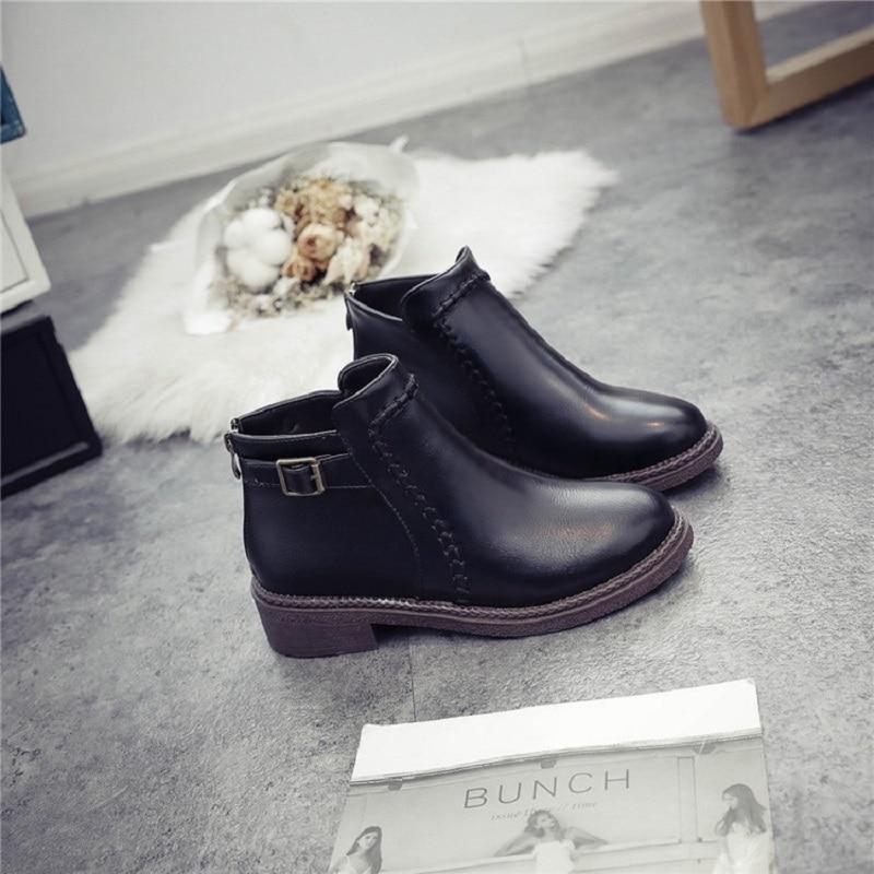 Mujer 2019 Nuevo Botas Cinturón Cuadrado Moda Hebilla Estilo Británico 0216 E Negro De Bajo Otoño Ljj Casuales Con Invierno Tubo rqFx4war