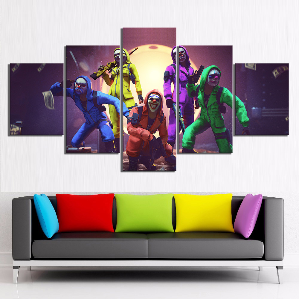 Us 126 16 Off5 Piece Garena Free Fire Video Game Poster Paintings Joker Free Fire Battlegrounds Games Art Print Canvas Paintings Wall Art In