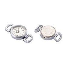 10 pcs פלטינה סגסוגת שעון פנים שטוח עגול שעון ראש רכיבים עבור DIY 28 ~ 29x26 x 9mm, חור: 10x5mm