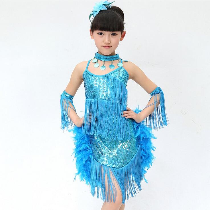New Feather Fringe Dresses Latin Dance Dress Cheap Dance Costume Kid
