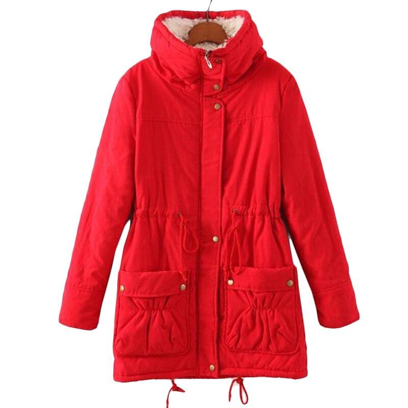 Women Korean Hooded Cotton Jacket Autumn Winter Jackets New long Casual Lambskin Cotton coat Womens Plus size Warm   Parkas   F437