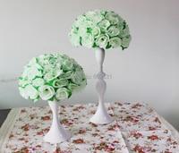 10 stks/partij 30 cm 12 inch ivoor met groene bladeren kussen bloem bal bruiloft kunstbloemen decoraties gratis verzending