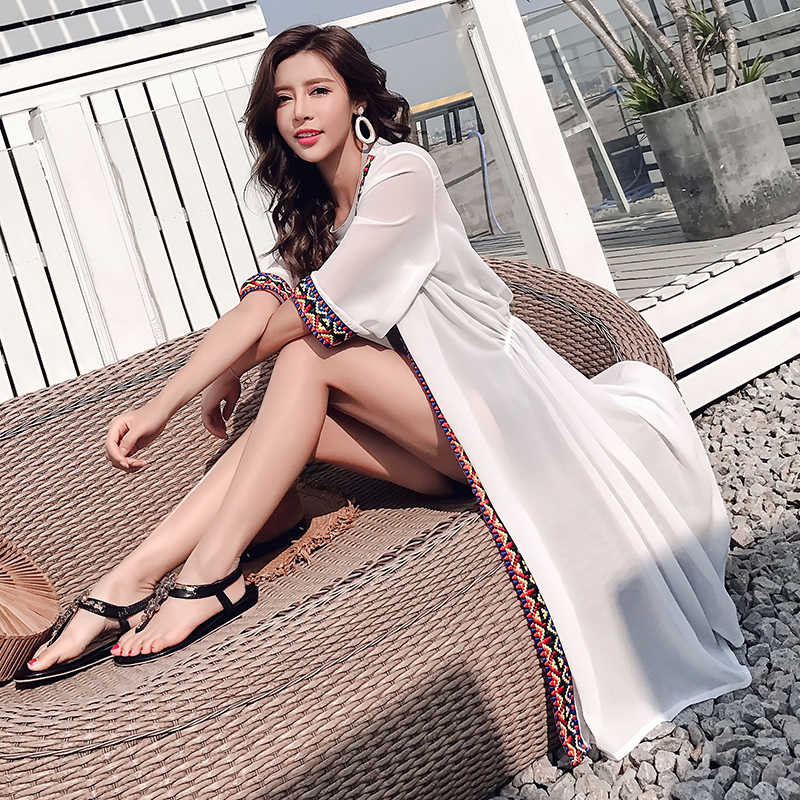 TingYiLi ビーチ着物カーディガン女性の夏カーディガン青白自由奔放に生きるロングカーディガン