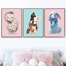 Watercolor Dog Rabbit Owl Nordic Posters And Prints Wall Art Canvas Painting Animal Picture Kids Bedroom Nursery Home Decor