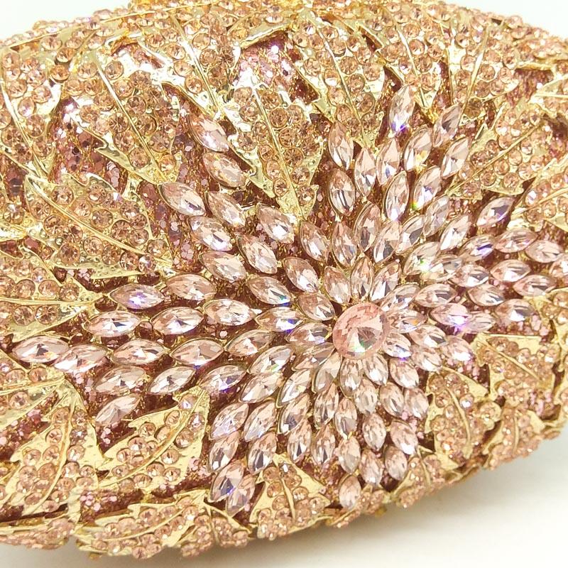 Image 2 - Boutique De FGG Champagne Peach Color Women Crystal Bags Evening  Purse Metal Hardcase Wedding Party Minaudiere Handbag Clutchhandbag  clutchevening pursecrystal bag