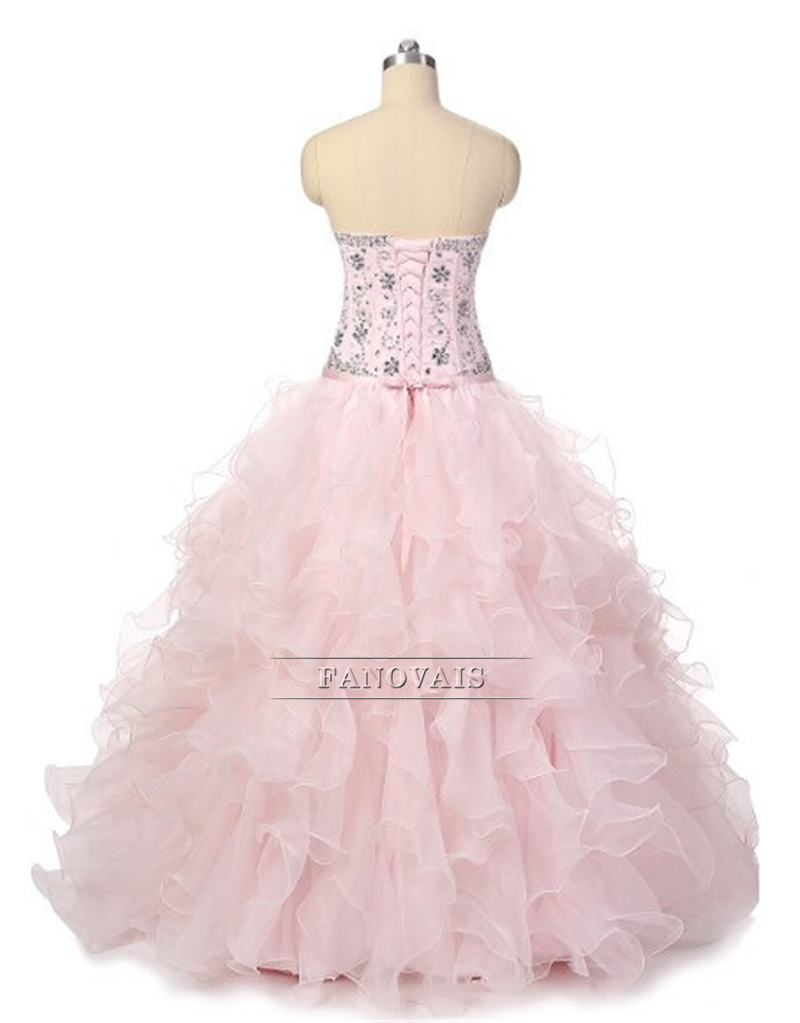 Real Photo Pink Quinceanera Dresses Crystal Princess Ball Gown Prom ...