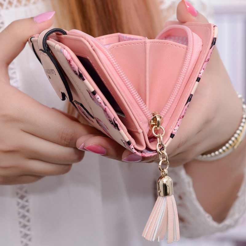 Women Wallet 2017 New Fashion Lovely Cartoon Printed Unicorn Wallet Soft Leather Clutch Purse Short Card Coin Lady Bag Gift weichen pink love heart short wallet purse for fashion lady lovely mini day clutch