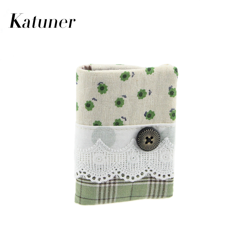 Katuner New Fashion 16 Bits Canvas Credit Card Holder Wallet Women High Quality Floral ID Card Holders Purse For Girls KB010
