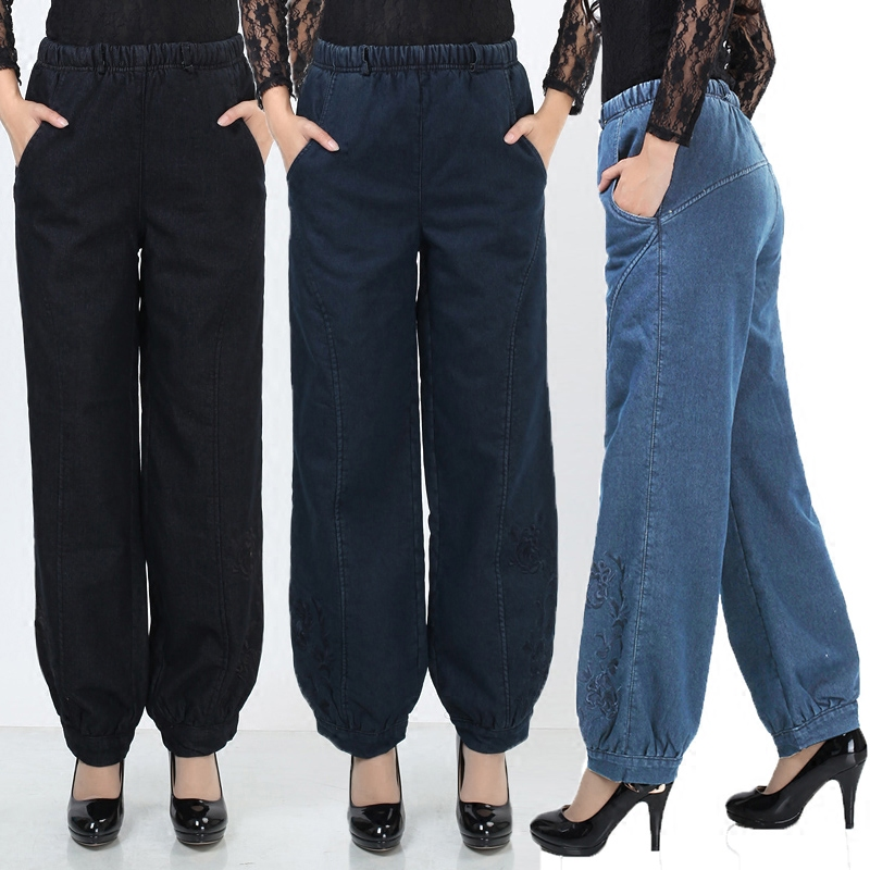2018 New Spring Autumn Women's Pants   Jeans   Women trousers High elastic waist big bloomers Plus Size 5XL winter mother legging