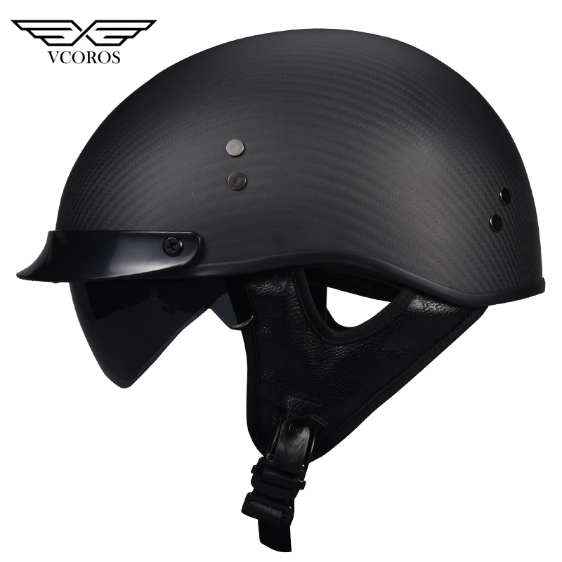 VCOROS Carbon fiber retro motorcycle helmet summer open face  moto crusie helmet with inner sunglassVCOROS Carbon fiber retro motorcycle helmet summer open face  moto crusie helmet with inner sunglass