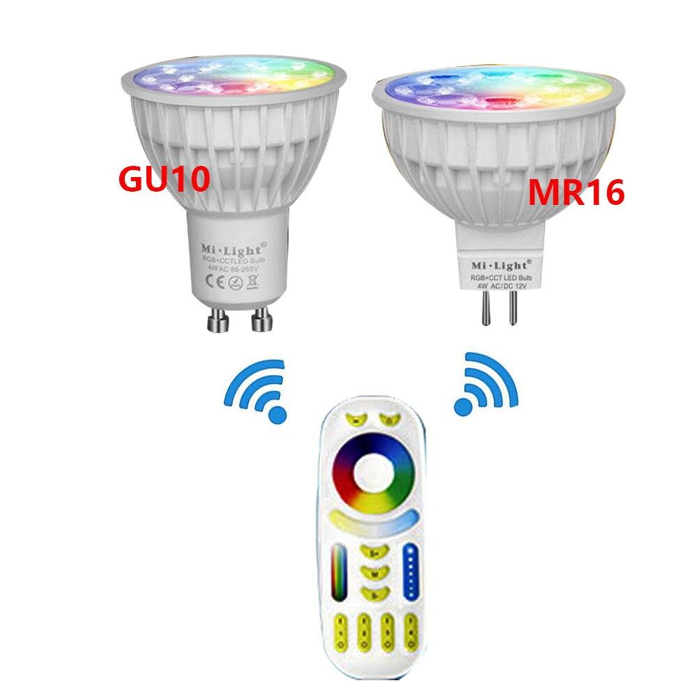 Mi Light 4W MR16 AC86-265V GU10 LED Bulb Lamp Light Dimmable RGB+Warm White+White (RGB+CCT)Spotlight Indoor Living Room