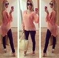 Women chiffon blouse tops bead Bubble Sleeve Chiffon shirts wallow tail asymmetry long sleeve pink chiffon blouses