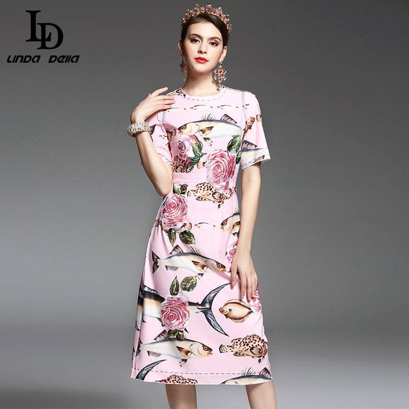 Alta calidad nuevo Primavera Verano diseñador pasarela Vestido Mujer elegante media pantorrilla longitud bordado Floral vestido rosa impreso-in Vestidos from Ropa de mujer    1