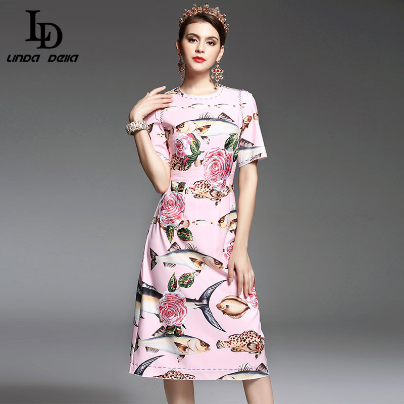 Buy Cheap High Quality New 2017 Spring Summer Designer Runway Dress Women elegant Mid Calf Length Floral Embroidery Printed Pink Dress