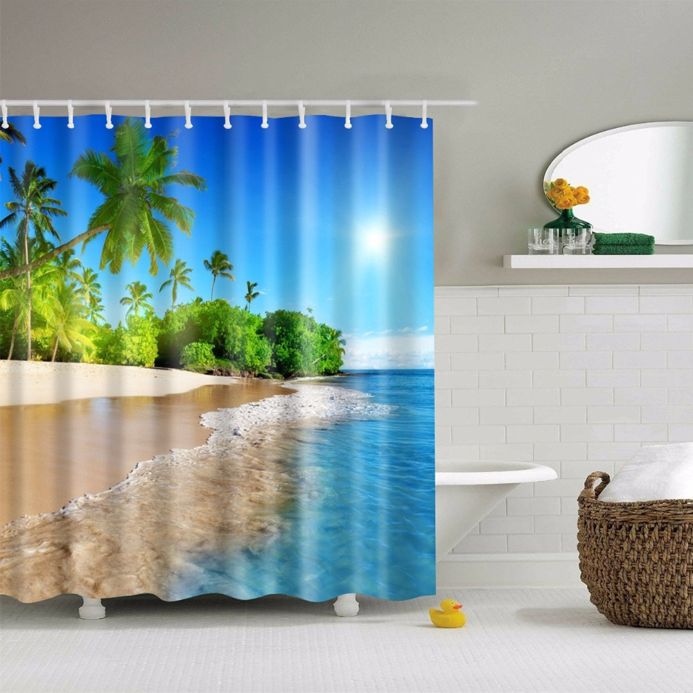 Beach Waterproof Shower Curtains Polyester Bathroom Curtains With Hooks 180x180cm Decorative Bathtub ...