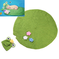Crochet Lotus Frog Design Newborn Baby Photography Prop Set Infant Beanie Hat With Blanket Knitted Photo