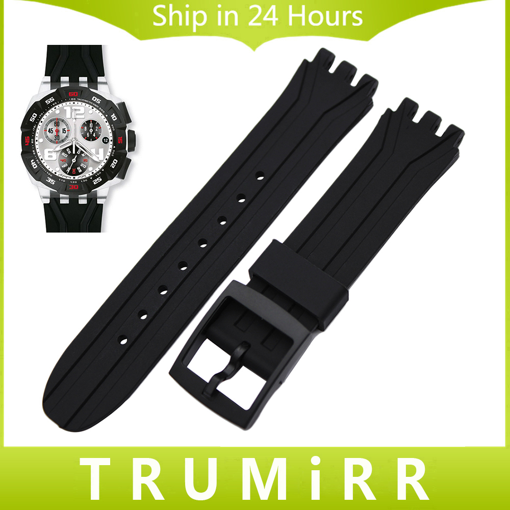 18mm Silicone Rubber Watchband for Swatch SUIK400 SUIB400 Watch Band Plastic Buckle Strap Replacement Belt Wrist Bracelet Black eache silicone watch band strap replacement watch band can fit for swatch 17mm 19mm men women