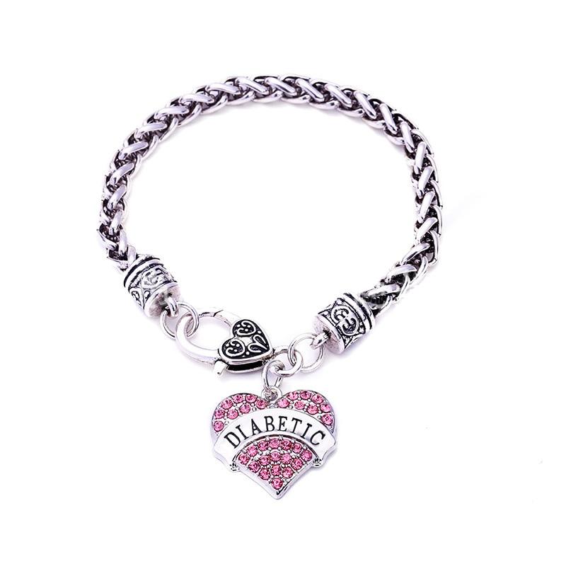 DIABETIC Bracelets DIY Crystal Heart Charm Bracelet Awareness Medical Alert Bracelet Gift