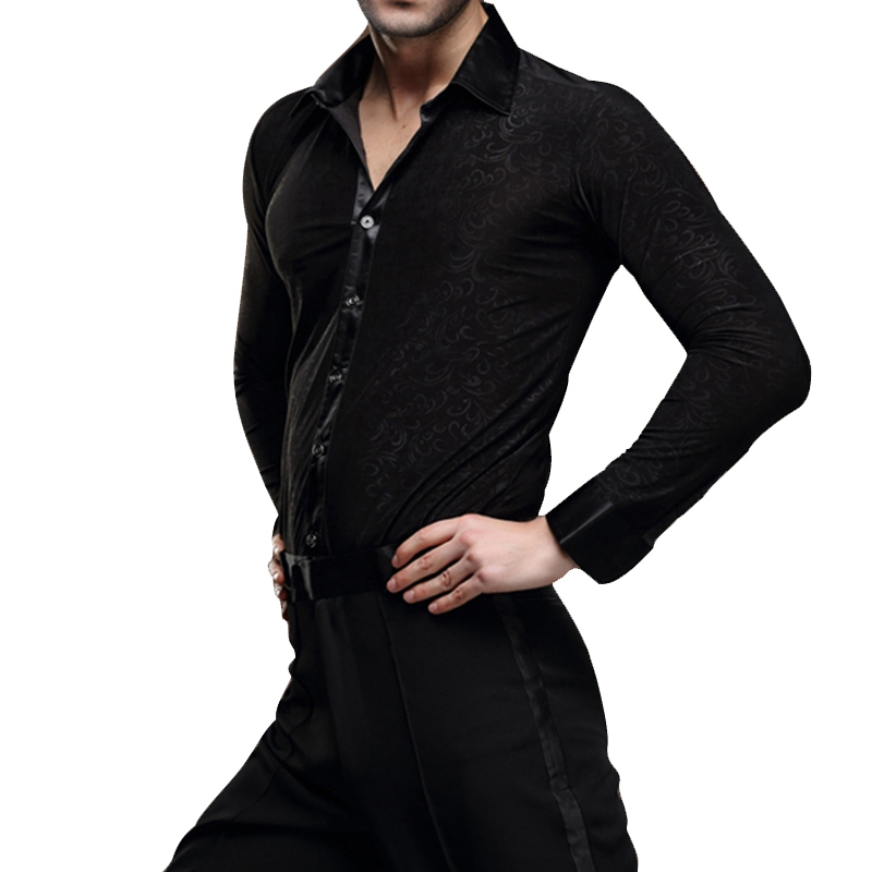 High Quality Mens Dancewear Latin Dance Tops Ballroom Modern Rumba Cha Cha Dance Shirt Black ...