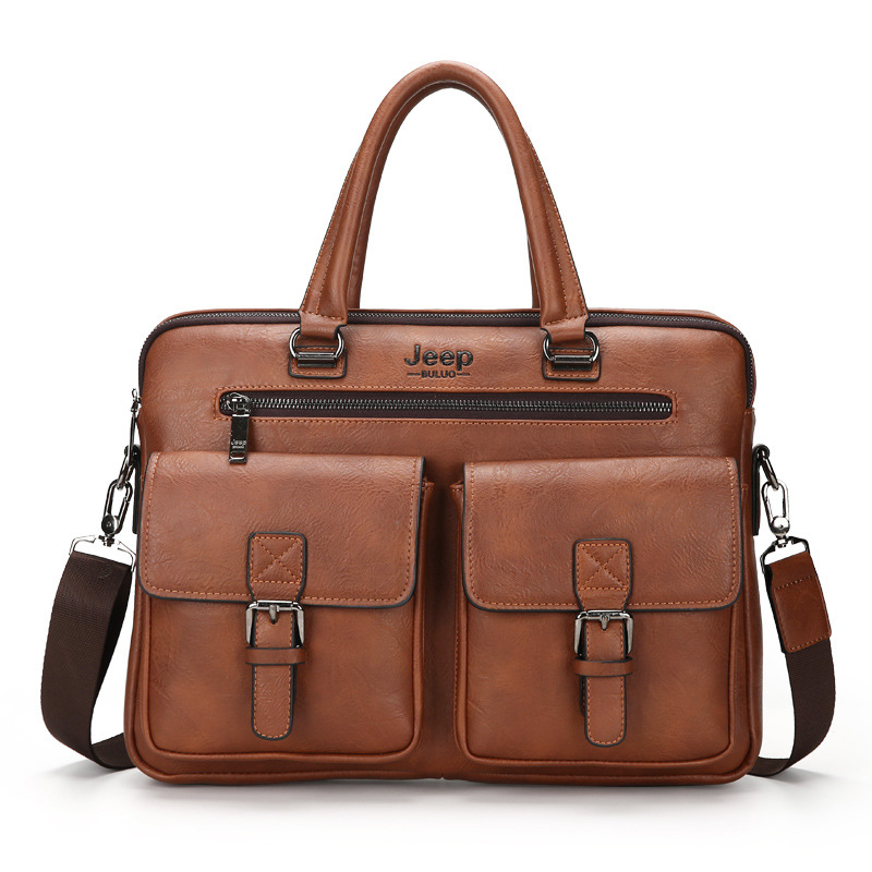 Briefcase Men's bag Large Capacity Multi-pocket Handbag PU Leather One-Shoulder Diagonal Bag Computer Bag For Ipad For Laptop pu leather metal multi zips handbag