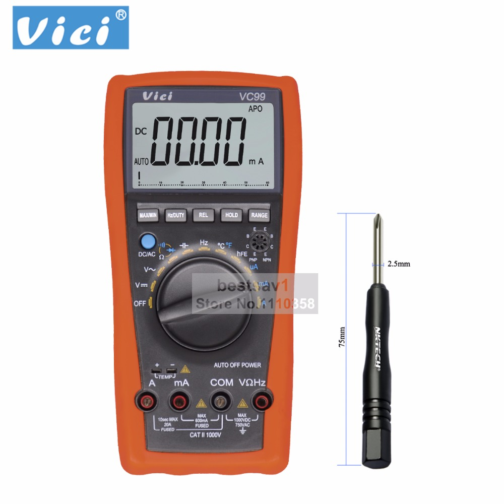 Vichy VC99 3 6/7 Auto range digital multimeter Ammeter Voltmeter Temperature Tester Unit Symbol 61 Selection Analog Bar Display vc99 auto range 3 6 7 digital multimeter 20a resistance capacitance meter voltmeter ammeter alligator probe thermal couple tk