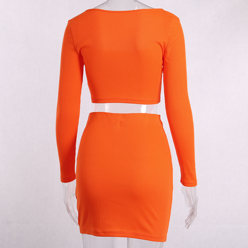 Fashion Outfits Bright Orange Women's Sets Buttons Long Sleeve Crop Tops Sexy Two Pieces Set Casual Bodycon Skirts 5