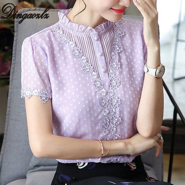 7adf1183d69 US $10.99 28% OFF|Dingaozlz 2019 Summer Flower Lace Tops New Fashion Short  Sleeve Office lady Shirt Elegant Women Chiffon blouse blusa feminina-in ...