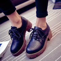 Women Spring Autumn Shoes Retro British Lady Thick Leather Oxfords Bullock Platform PU Leather Creepers Casual