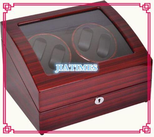 New Wholesale Luxury Stripped Red& Black Auto Watch Winder 4 Watches & Storage 6 Watch Chronometer Timepiece
