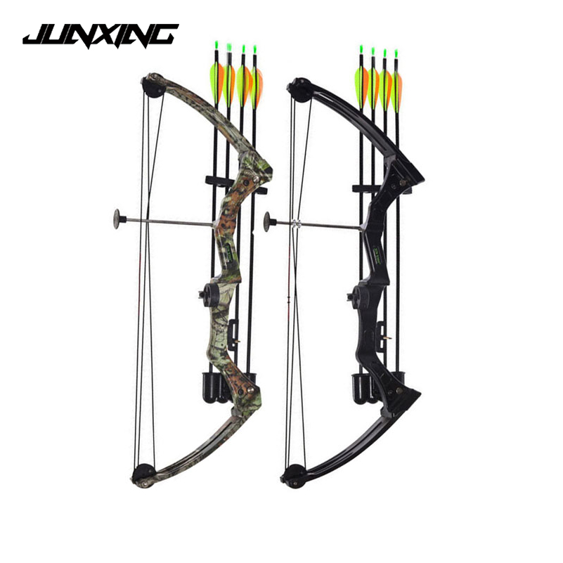 1pc High-strength Aluminum 20lbs Compound Bow in Black/Camo for Right Hand User for Outdoor Archery Shooting Hunting 20 pounds m110 compound bow wih black camo color high strength aluminum handle and glass fiber bow limbs for children games